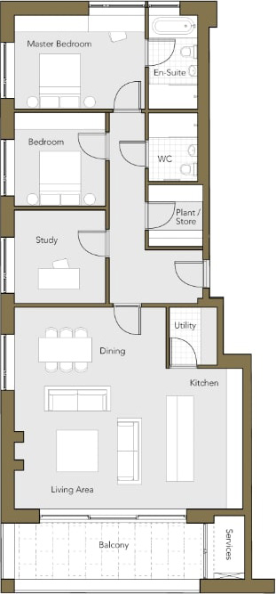 Second-Floor-Apartment-No.6-Two-Bedroom-plus-Study